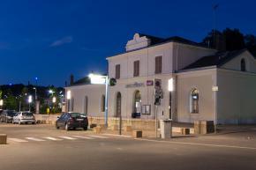 La gare vue de nuit