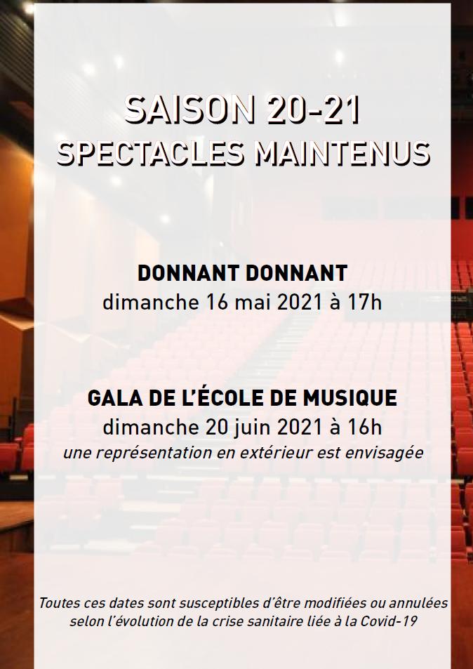 Point sur la saison spectacles 2020-2021 - Spectacles maintenus